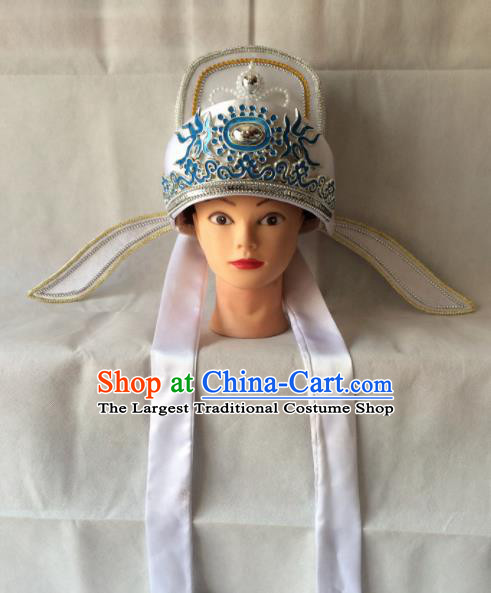 Asian Chinese Beijing Opera Niche Headwear Ancient Gifted Scholar White Hat for Men