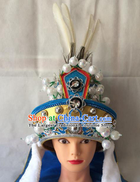 Asian Chinese Beijing Opera Prince Golden Helmet Headwear Ancient General Hat for Men