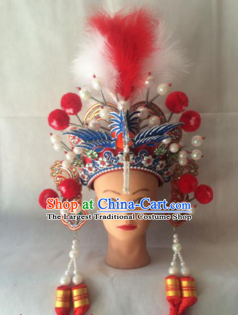 Asian Chinese Beijing Opera Hair Accessories Ancient General Red Helmet Hat for Women