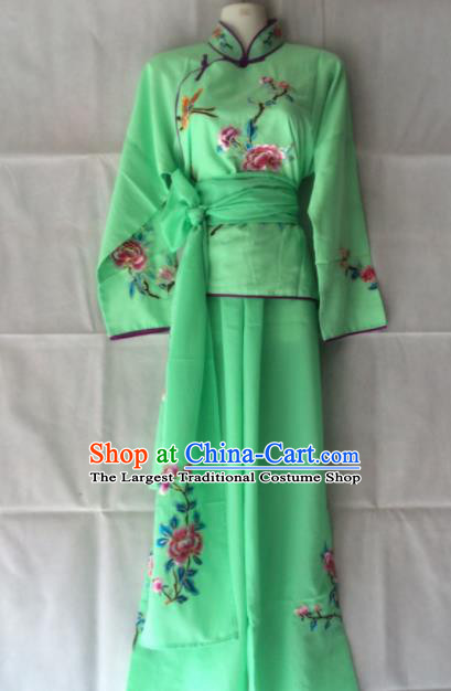 Traditional Chinese Beijing Opera Costume Ancient Maidservants Green Clothing for Women
