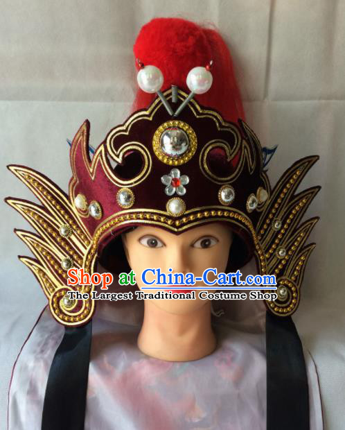 Asian Chinese Traditional Beijing Opera Headwear Ancient General Wine Red Helmet for Men