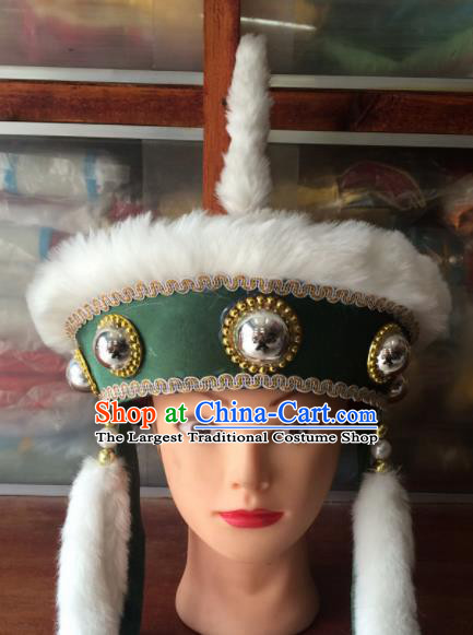 Asian Chinese Traditional Beijing Opera Headwear Ancient Ethnic Royal Highness Green Hat for Men