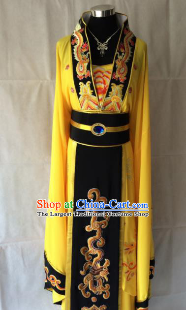 Traditional Chinese Beijing Opera Diva Costume Ancient Queen Yellow Dress for Women