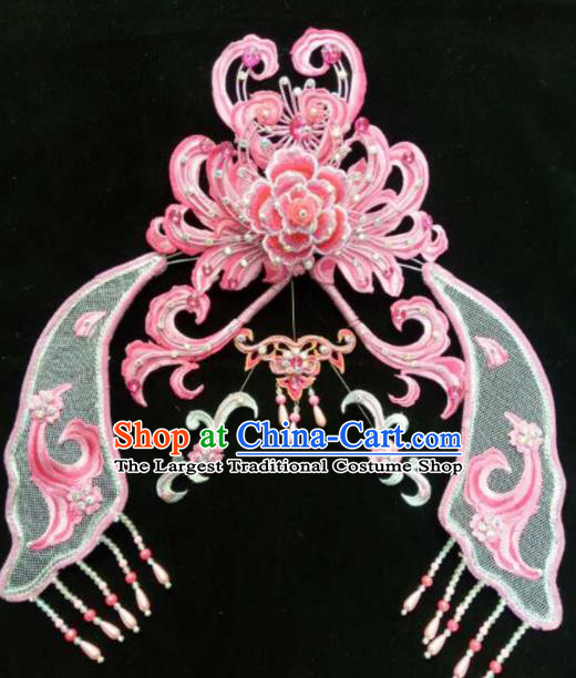 Asian Chinese Beijing Opera Hair Accessories Ancient Queen Pink Hair Coronet Hairpins for Women