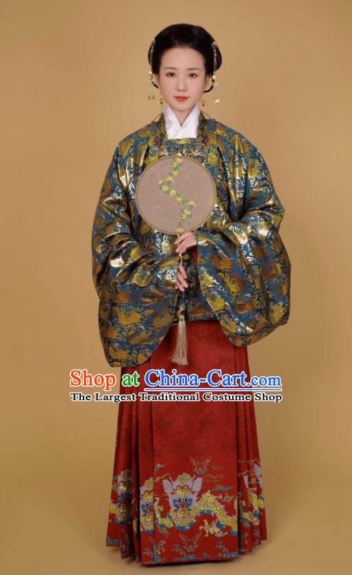Traditional Chinese Ancient Ming Dynasty Nobility Lady Historical Costume Blue Blouse and Horse Face Skirt Complete Set