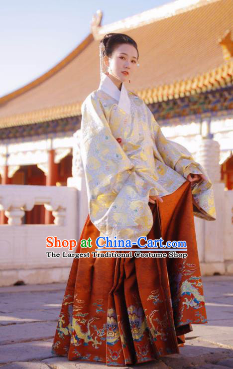 Traditional Chinese Ming Dynasty Imperial Consort Historical Costume Ancient Brocade Blouse and Horse Face Skirt Complete Set