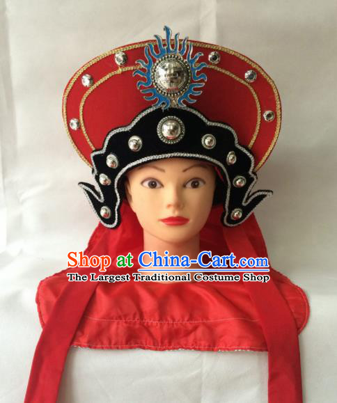 Asian Chinese Beijing Opera Hair Accessories Ancient Female Warrior Red Hat for Women