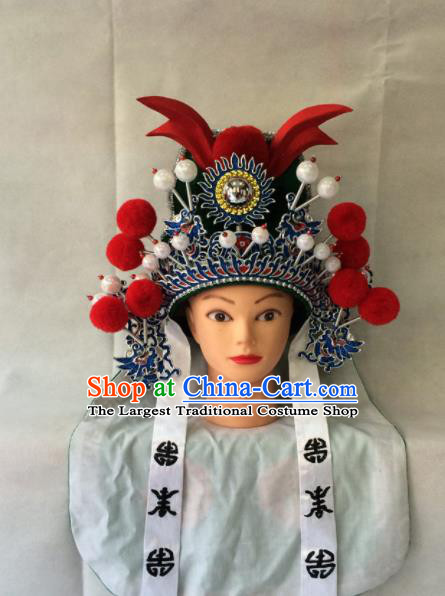 Asian Chinese Traditional Beijing Opera Takefu Headwear Ancient Warrior Green Helmet Hat for Men