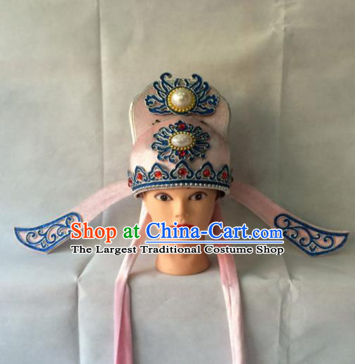 Asian Chinese Traditional Beijing Opera Niche Headwear Ancient Nobility Childe Pink Hat for Men