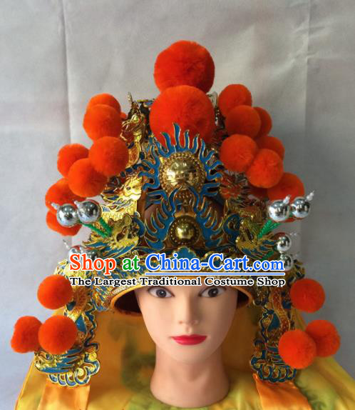 Asian Chinese Traditional Beijing Opera Golden Helmet Headwear Ancient General Hat for Men