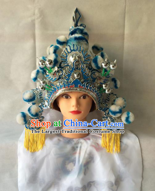 Asian Chinese Traditional Beijing Opera Helmet Headwear Ancient General Hat for Men
