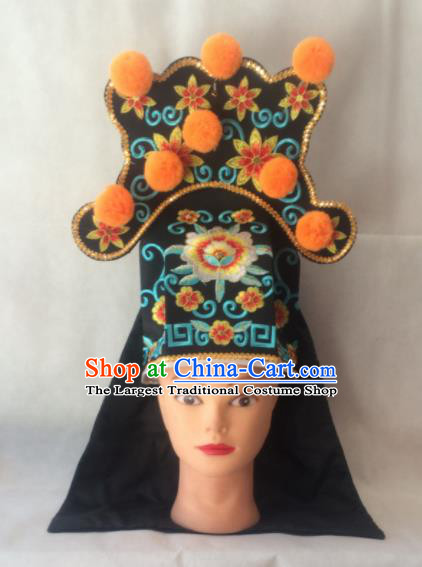 Asian Chinese Traditional Beijing Opera Takefu Headwear Ancient Warrior Black Hat for Men
