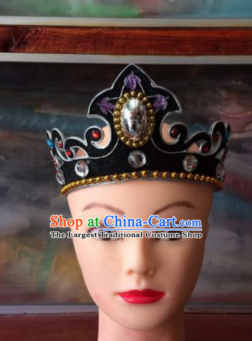 Asian Chinese Traditional Beijing Opera Takefu Headwear Ancient Prince Black Head Crown for Men