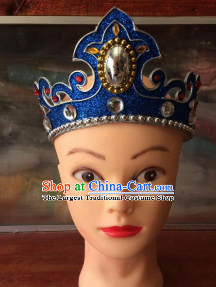 Asian Chinese Traditional Beijing Opera Takefu Headwear Ancient Prince Blue Head Crown for Men