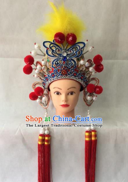 Asian Chinese Beijing Opera Hair Accessories Ancient Female Warrior Red Helmet for Women