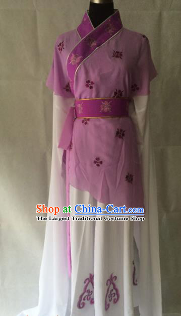Traditional Chinese Beijing Opera Young Lady Costume Ancient Peri Purple Dress for Women