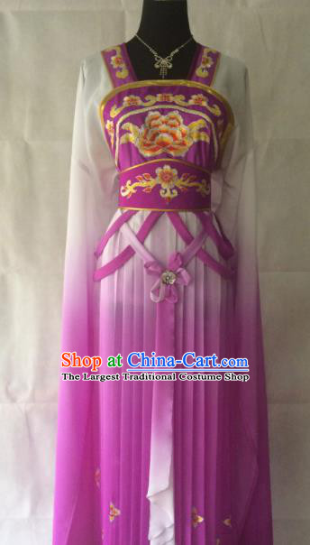 Traditional Chinese Beijing Opera Princess Costume Ancient Peri Purple Dress for Women