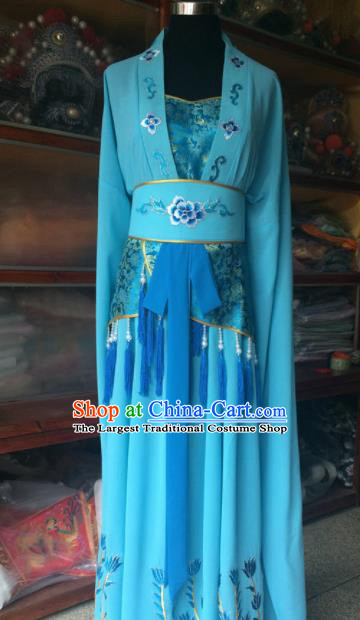 Traditional Chinese Beijing Opera Diva Costume Ancient Peri Blue Dress for Women