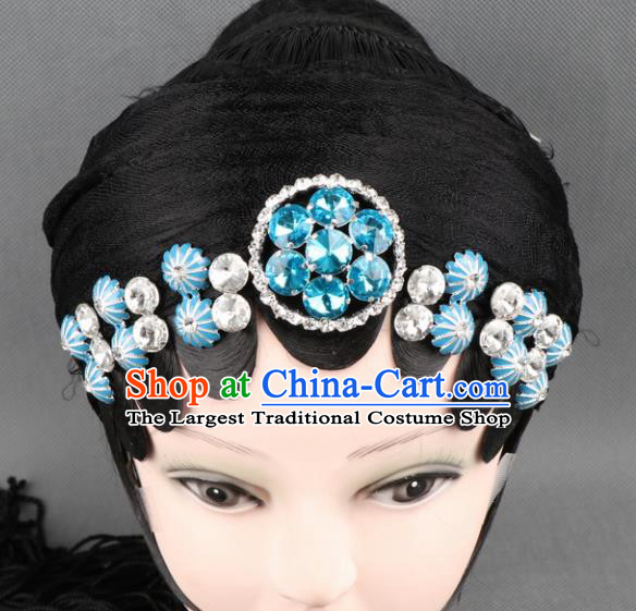 Asian Chinese Beijing Opera Diva Hair Accessories Ancient Princess Blue Crystal Hairpins for Women