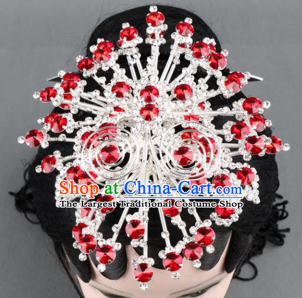 Asian Chinese Beijing Opera Diva Hair Accessories Ancient Princess Red Crystal Butterfly Hairpins for Women