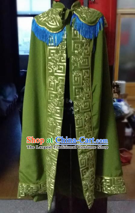 Traditional Chinese Beijing Opera Pantaloon Costume Ancient Female General Green Cloak for Women