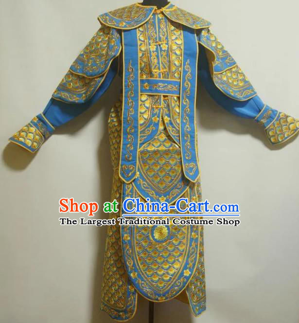 Traditional Chinese Beijing Opera Takefu Costume Ancient Warrior Blue Clothing