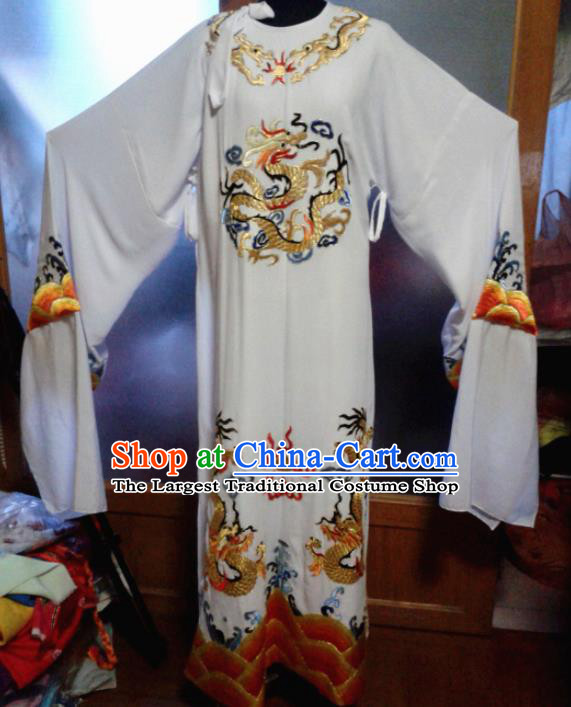 Traditional Chinese Beijing Opera Chancellor Costume Ancient Minister White Clothing