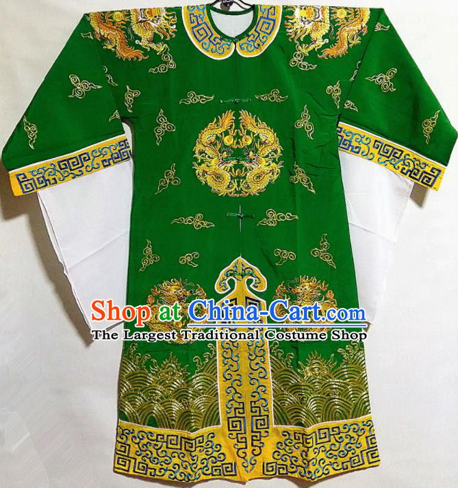 Traditional Chinese Beijing Opera Takefu Costume Ancient Imperial Bodyguard Green Clothing