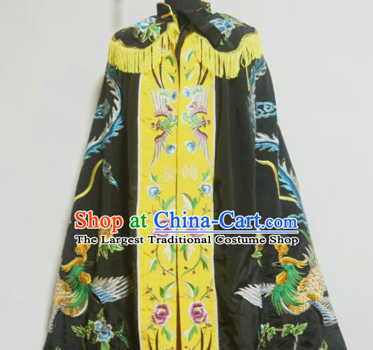 Traditional Chinese Beijing Opera Actress Costume Ancient Princess Embroidered Black Cloak for Women