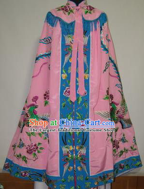 Traditional Chinese Beijing Opera Actress Costume Ancient Princess Embroidered Pink Cloak for Women