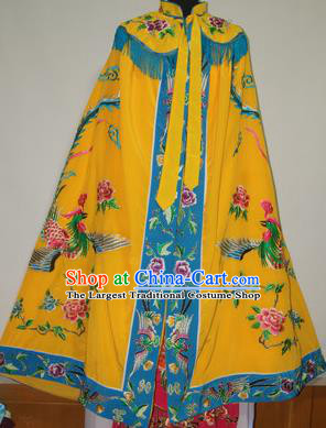 Traditional Chinese Beijing Opera Actress Costume Ancient Princess Embroidered Yellow Cloak for Women