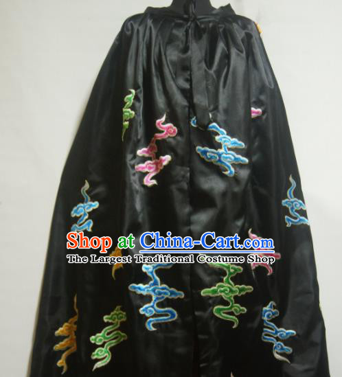 Traditional Chinese Beijing Opera Actress Costume Ancient Princess Embroidered Clouds Black Cloak for Women