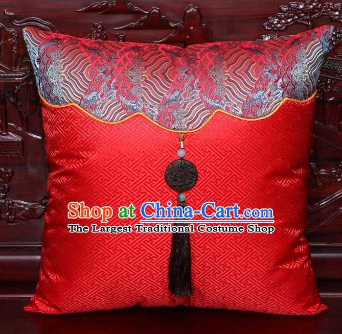 Chinese Classical Wave Pattern Jade Pendant Red Brocade Square Cushion Cover Traditional Household Ornament
