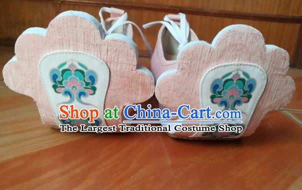 Asian Chinese Traditional Shoes Ancient Tang Dynasty Princess Pink Shoes Hanfu Shoes for Women
