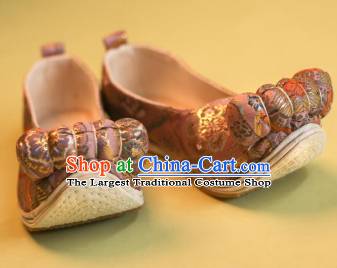 Asian Chinese Traditional Shoes Ancient Song Dynasty Princess Pink Shoes Hanfu Shoes for Women