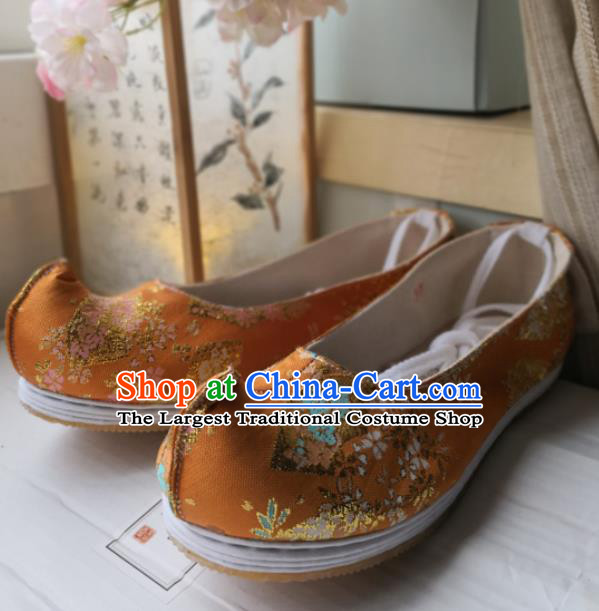 Asian Chinese Traditional Shoes Ancient Song Dynasty Orange Brocade Shoes Hanfu Shoes for Women