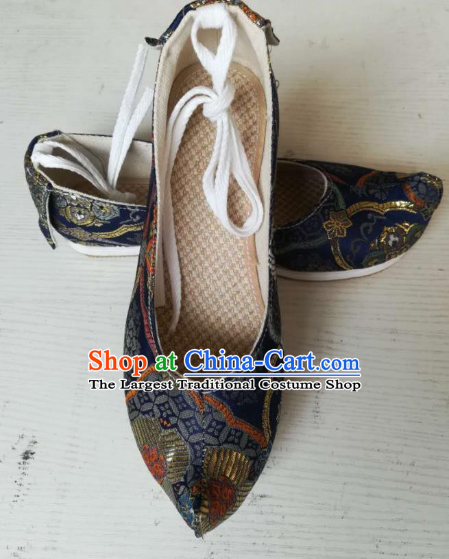 Asian Chinese Traditional Shoes Ancient Song Dynasty Navy Brocade Shoes Hanfu Shoes for Women