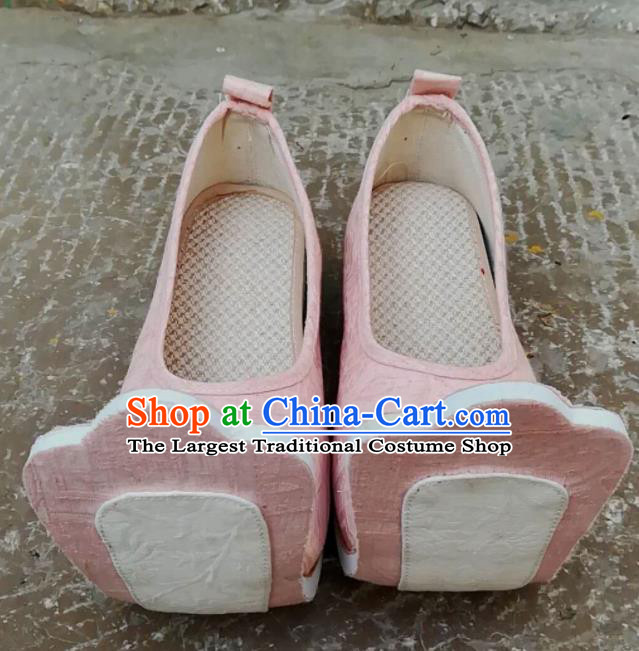 Asian Chinese Traditional Shoes Ancient Han Dynasty Princess Pink Shoes Hanfu Shoes for Women