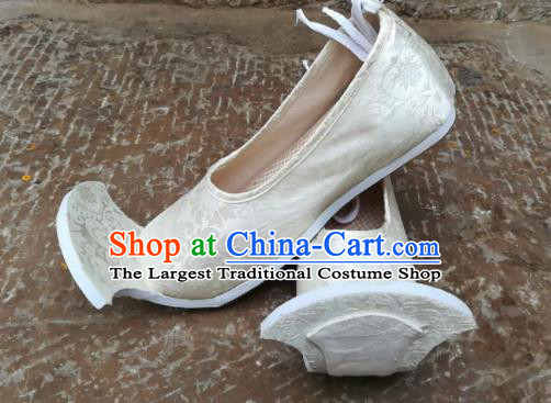 Asian Chinese Traditional Hanfu Shoes Ancient Han Dynasty White Brocade Shoes for Men