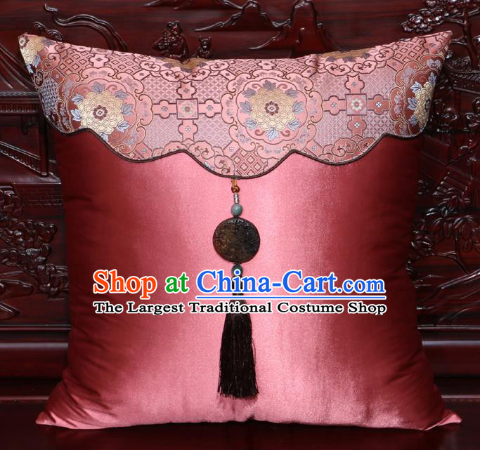 Chinese Classical Peony Pattern Jade Pendant Pink Brocade Square Cushion Cover Traditional Household Ornament