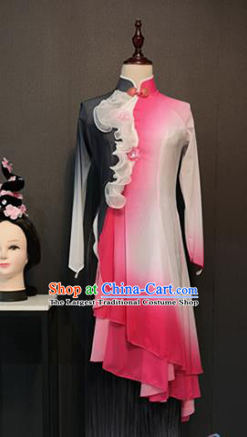Asian Chinese Traditional Classical Dance Costume Fan Dance Rosy Dress for Women