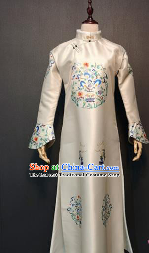 Traditional Chinese Ancient Drama Qing Dynasty Manchu Empress White Costume for Women
