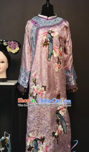 Traditional Chinese Ancient Drama Qing Dynasty Manchu Empress Pink Costume for Women