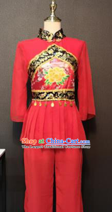 Asian Chinese Traditional Folk Dance Costume New Year Fan Dance Red Clothing for Women