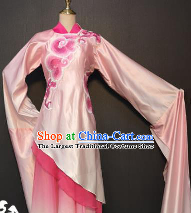 Asian Chinese Traditional Classical Dance Costume Umbrella Dance Pink Dress for Women