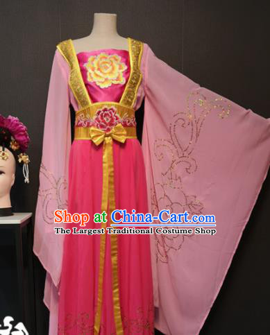 Asian Chinese Traditional Classical Dance Costume Ancient Peri Pink Dress for Women