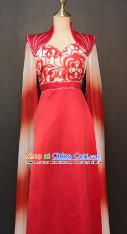 Asian Chinese Traditional Folk Dance Costume Classical Dance Red Dress for Women