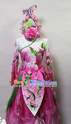 Asian Chinese Traditional Costume Classical Dance Rosy Dress for Women
