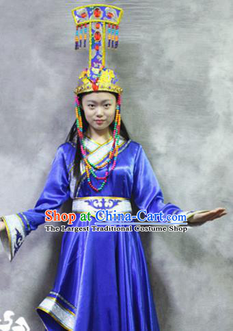 Asian Chinese Traditional Ethnic Costume Mongol Nationality Dance Blue Dress for Women