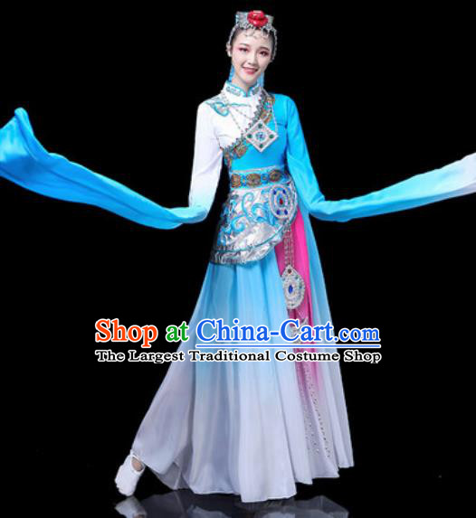 Chinese Traditional Ethnic Dance Costume Zang Nationality Stage Dance Blue Dress for Women